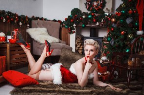 Sexy Blonde on the floor during the holidays.jpg