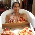 Padma Lakshmi – Nude bath with pizza photoshoot
