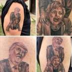 A Tattoo of Donald Trump Fucking Hillary Clinton