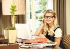 Stefanie Scott in cute glasses doing algebra