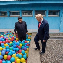 Donald Trump is welcomed to the Dictator Ball Pit