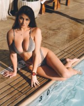 Jessica Bartlett by the pool