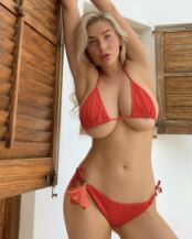 red bikini underboob