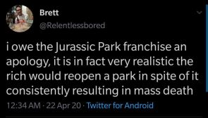 I owe the Jurassic Park franchise an apology