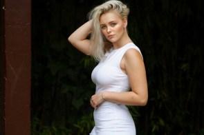 white blonde dress