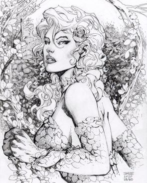 Jim Lee on Instagram Day 28 late brings us POISON IVY drawn by me as chosen by the high bidder on Cyborg waxripper Pen and ink and whiteout on 9?