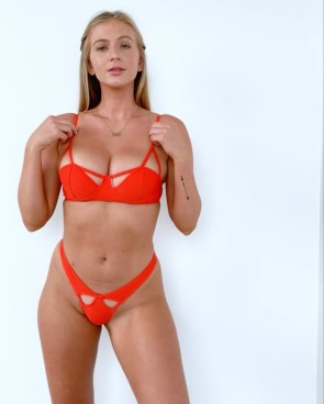 red bikini with peekaboo holes
