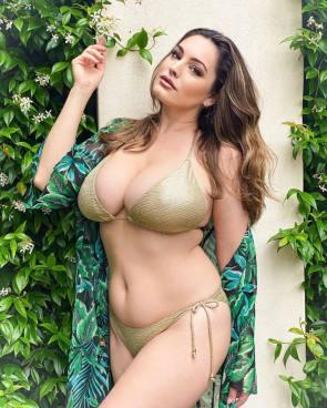 kelly Brook in a golden bikini