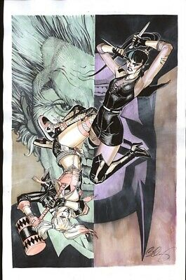 PUNCHLINE Vs HARLEY QUINN DC COMICS Original Art By BERNARD CHANG   eBay