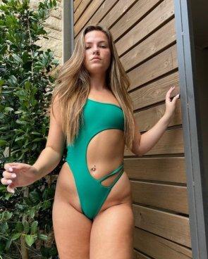 tight green swimsuit