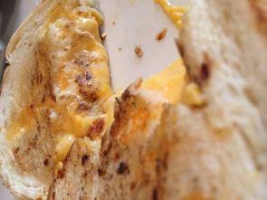 Home made Sourdough garlic bread with Velveta cheddar and Velveta mac and cheese