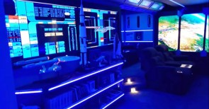 Geek Builds MIND-BLOWING Star Trek Man Cave Theater Pics  Video
