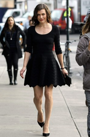 Milla in a black dress