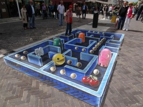 Pac Man Chalk Art