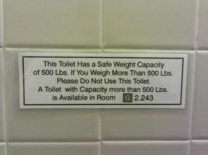 Toilet weight capacity