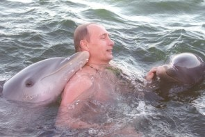 Putin with dolphins