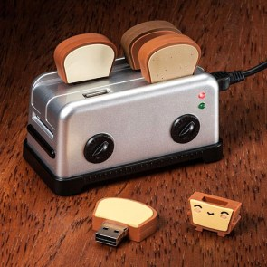 Toaster U.S.B. hub and toasted flash drives