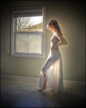 sunlit white dress