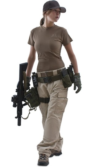 army girl with p-90