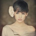 short hair girl and flower
