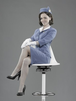 lady in blue uniform
