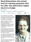 Old lady spent three nights stuck in a hedge
