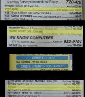 Looking up Adam West in the phone book