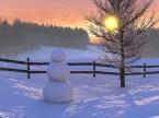 Snowman sunset