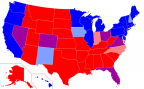 Red blue purple pink & periwinkle states