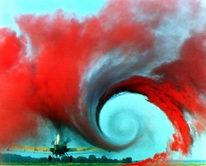 Red smoke vortex