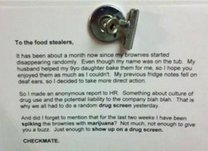 Workplace brownie-theft scheme