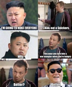 GREAT LEADER EATS A SNICKERS