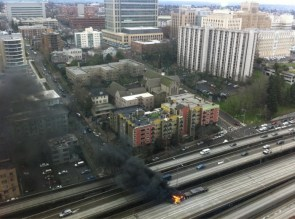 burning truck in downtown seattle