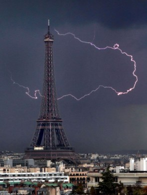 Eiffel Tower during thunderstorm