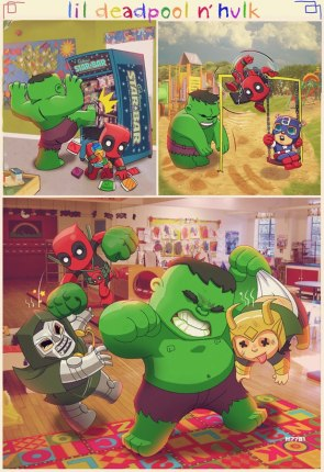 Hulk and Deadpool at Daycare