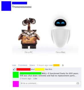 I'm a mac, and I'm a PC. Wall-E Edition