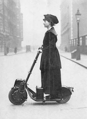 Suffragette on a scooter.