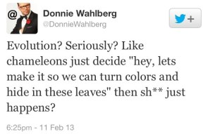 Donnie Wahlberg I doesn't understand evolution