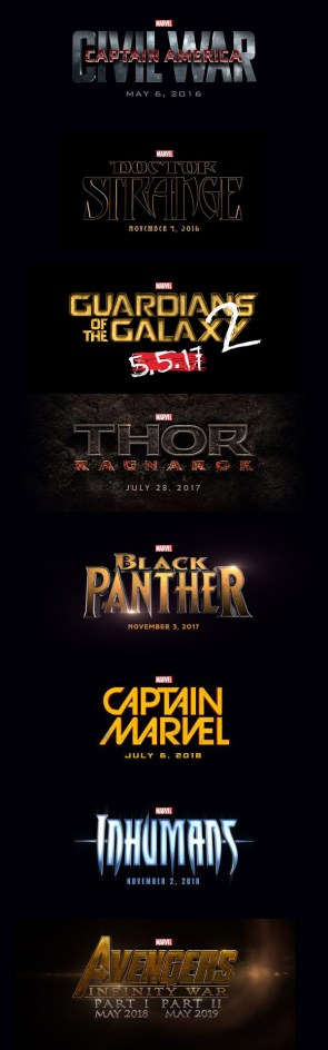 Marvel Studios movies for 2016-2019