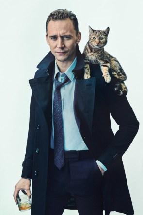 Tom Hiddlestone wearing a cat.