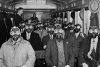 Gas masks on a train