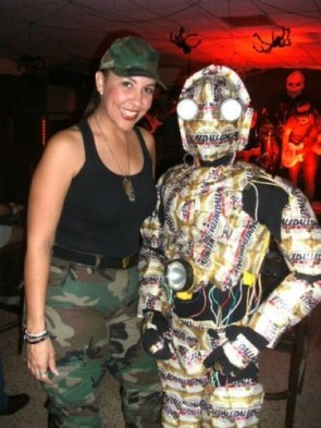 C3P-O Costume made out of Medalla Light cans