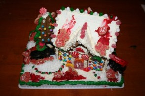 A train crashed into my gingerbread house