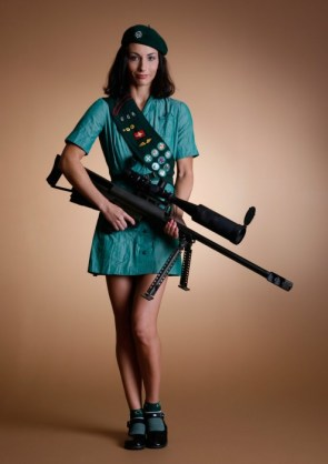 Girl Scout With A Berrett .50 Cal