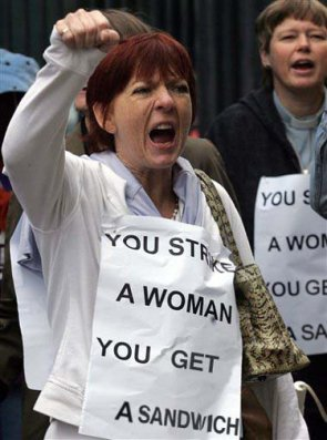 Woman on strike