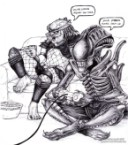 Predator and Alien playing video games