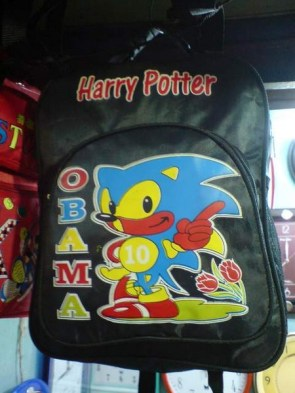 Harry Potter, Sonic the Hedgehog, Obama, 2010 and flowers backpack