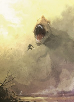 Wolverine and a T-rex