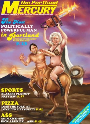 Betty White in a Metal Bikini Wielding a Flaming Chainsaw While Riding a John Ritter Centaur