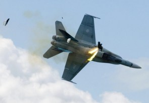 Pilot ejects an instant before fighterjet crashes